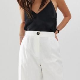 ASOS - Pantaloni in lino a fondo ampio con bottoni a contrasto