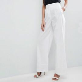ASOS - Pantaloni semplici in lino con fondo ampio