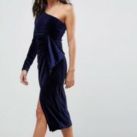 Lavish Alice - Vestito midi monospalla in velluto con dettaglio attorcigliato